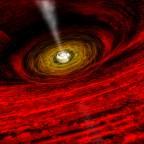 Гигантская чёрная дыра и её энергетические выбросы