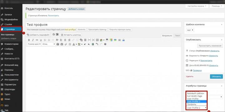 Рабочая область WordPress